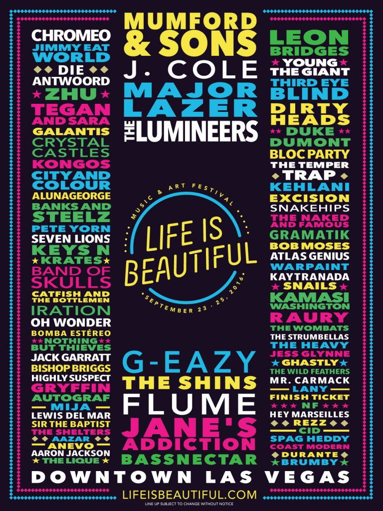 Life Is Beautiful 2016 Lineup
