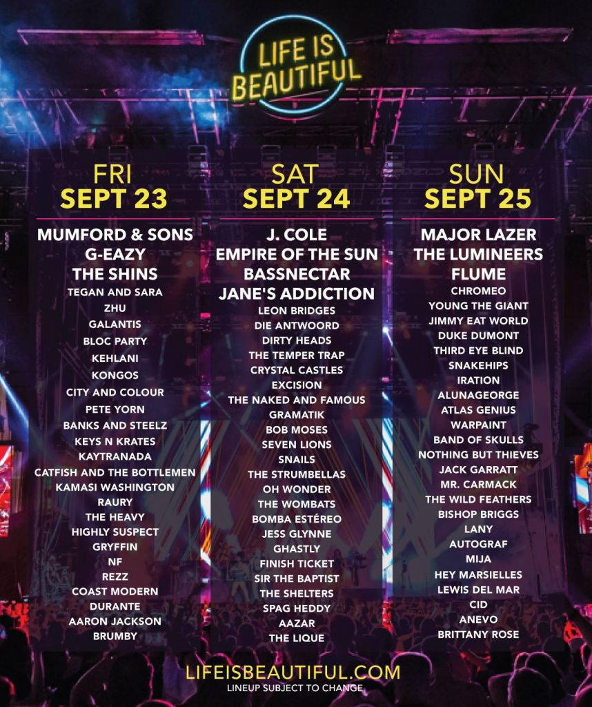 life is beautiful 2016 daily lineup