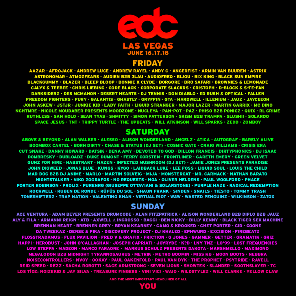 EDC Las Vegas 2017 Daily Lineup