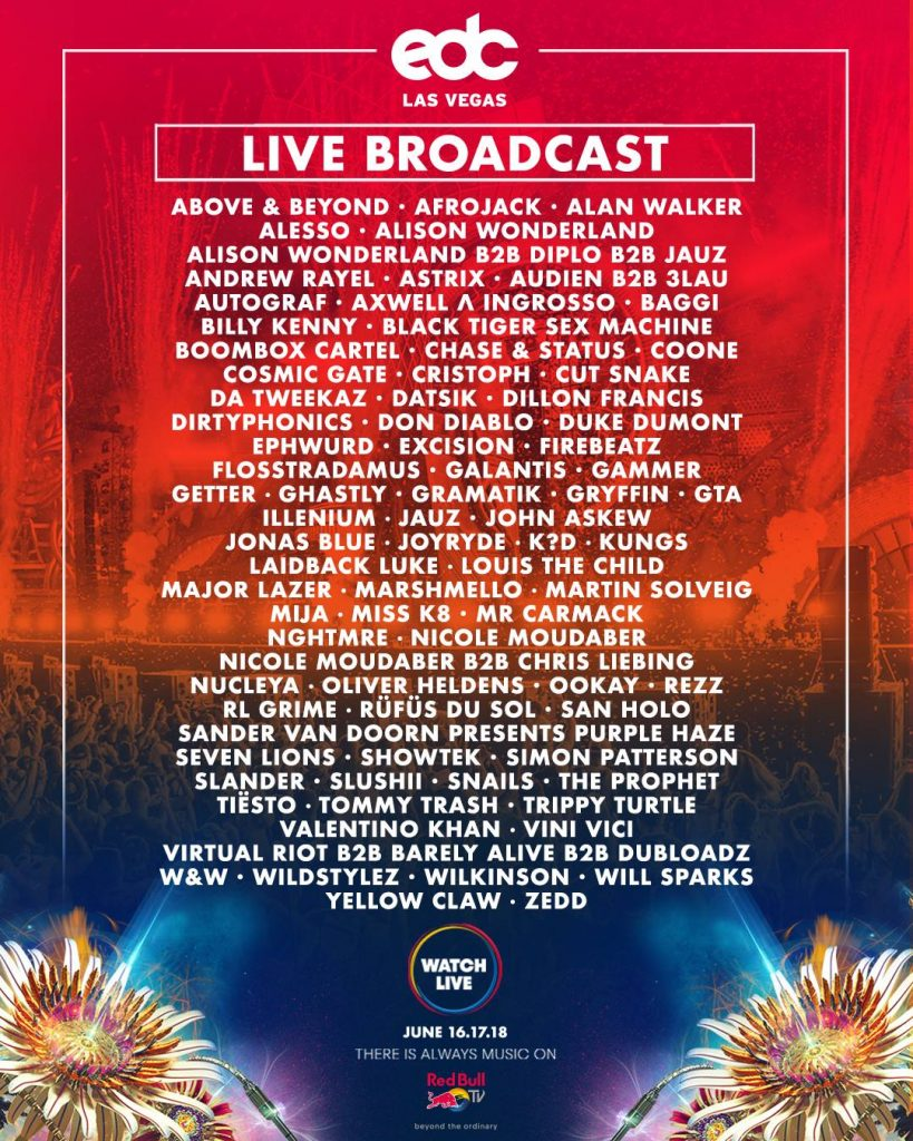 edc red bull tv schedule 2017