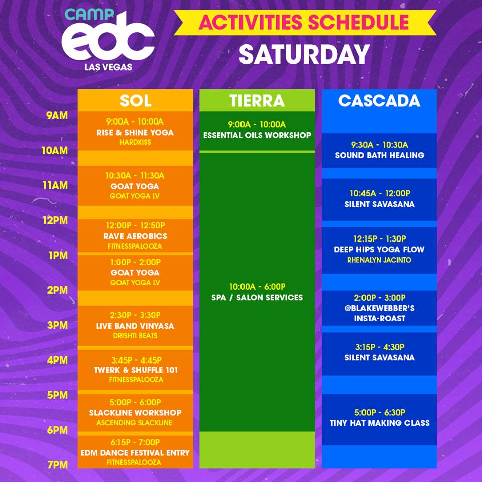 Camp EDC 2019 party and activity schedules released